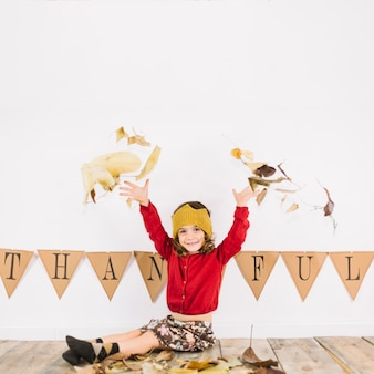 Thanksgiving concept with happy kid