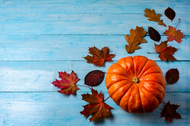 Thanksgiving concept with ripe pumpkin on blue wooden