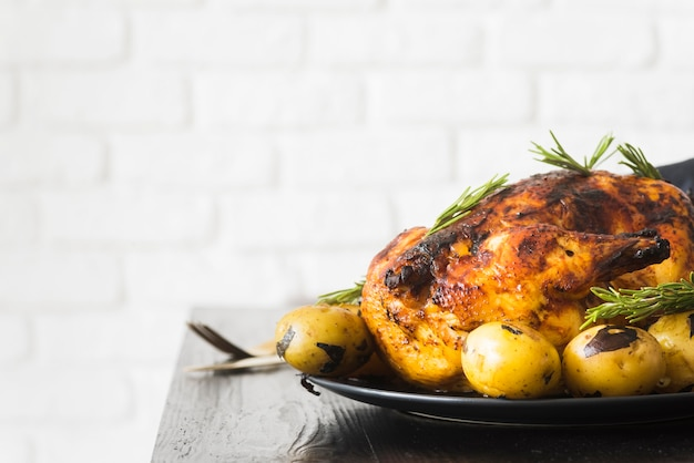 Thanksgiving concept with roasted turkey