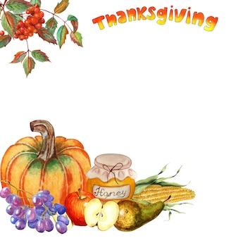 Угловая рамка на день благодарения рябина гроздь тыква виноград яблоко груша кукуруза и мед