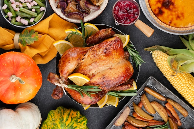 Thanksgiving day delicious meal assortment