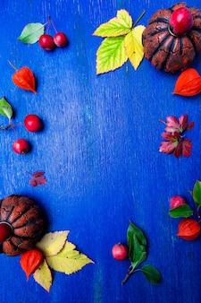 Thanksgiving day frame on blue