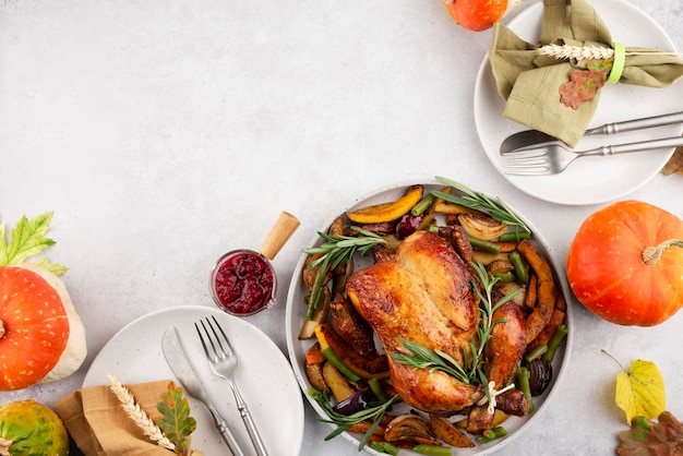 Thanksgiving day meal with copy space