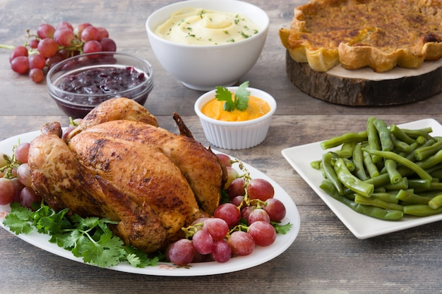 Thanksgiving dinner on rustic wooden