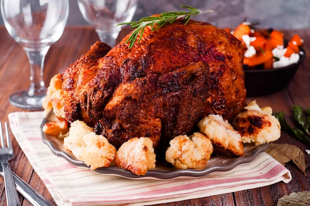 Thanksgiving dinner with chicken.