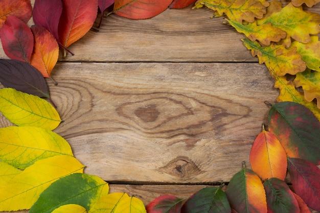 感謝祭の秋の葉の花輪フレーム、コピースペース