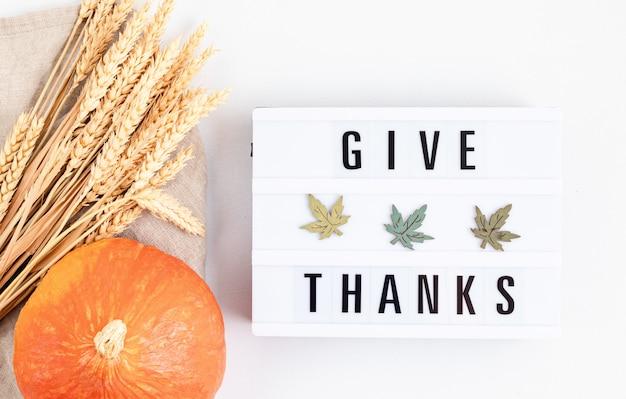 Плоская планировка благодарения. lightbox с фразой