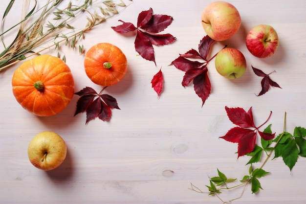 Thanksgiving food background with pumpkins and apples