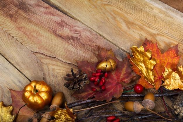 Thanksgiving golden pumpkin, acorn and oak leaves decor,