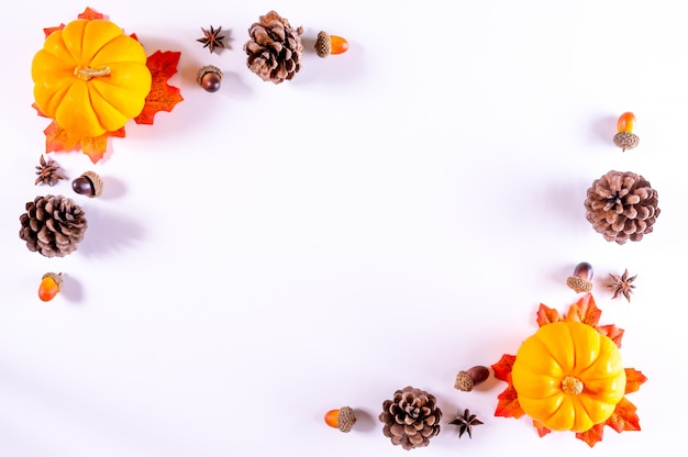 Thanksgiving greetings. pumpkins, pine cone and dry leaves on a white . top view.