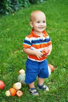 Thanksgiving or halloween pumpkin kid boy