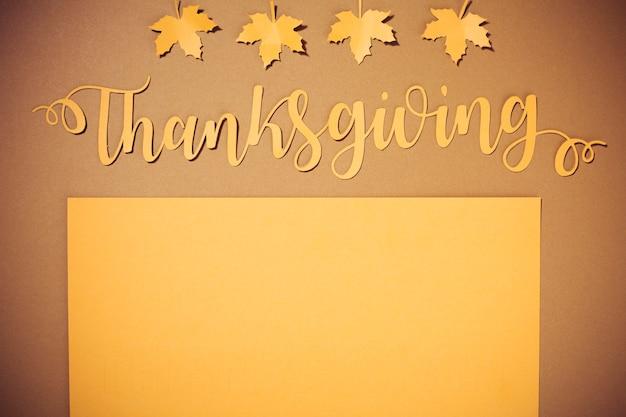 Lettering ringraziamento su sfondo marrone