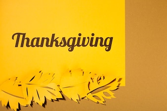 Thanksgiving lettering with big leaflets