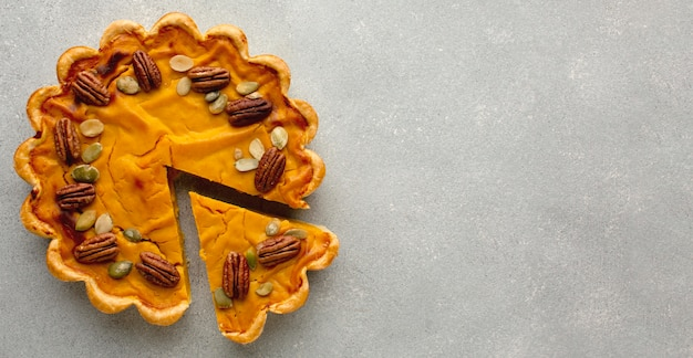 Thanksgiving pumpkin pie with copy space