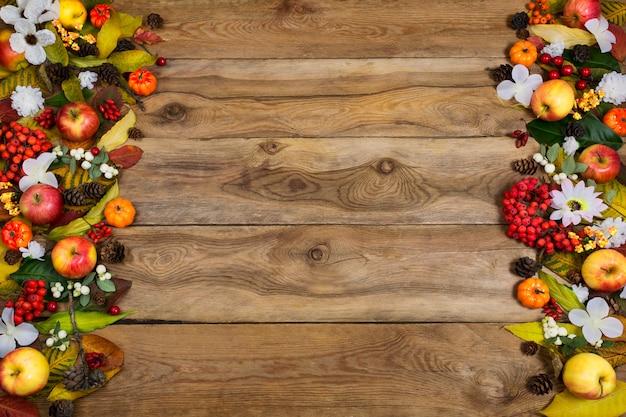 Thanksgiving  pumpkins, apples, rowan berries and white flowers
