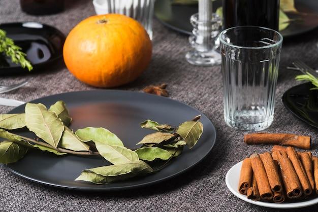 感謝祭のレシピの食材ハイアングル