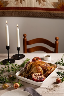 Thanksgiving turkey composition on the table