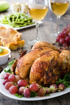 Thanksgiving turkey on rustic wood