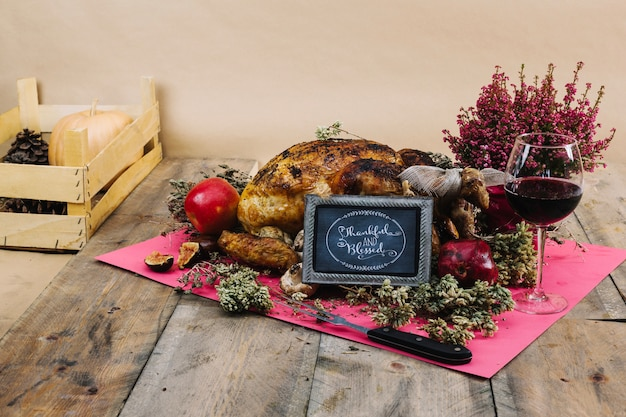 Thanksgiving turkey with board on cloth