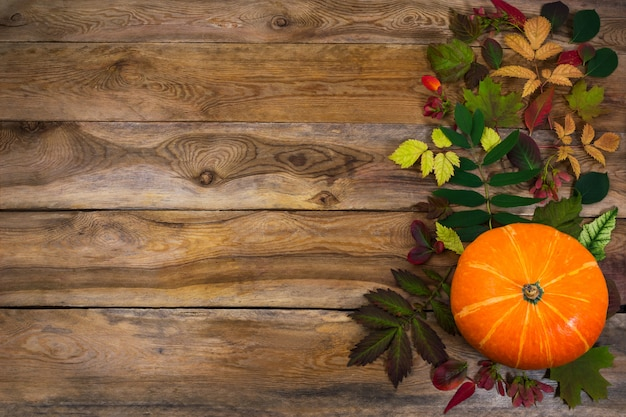 Thanksgiving   with leaves and squash on old table