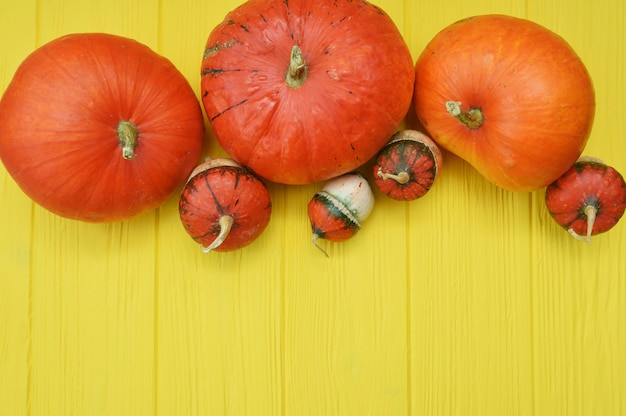 Thanksgiving wooden yellow background with pumpkins