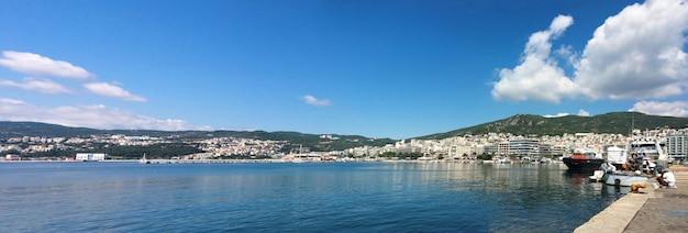 Thasos island greece kavala city cityscape panorama