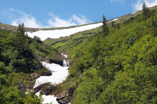Thawing the rest of the snow on summer mountainside
