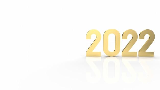 Золото 2022 года на белом фоне для 3d-рендеринга контента с новым годом