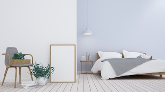 The 3D Interior bedroom interior minimal space in apartment wall decoration - 3D Rendering