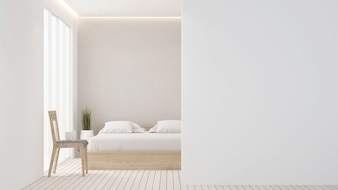 The 3D rendering Bedroom space minimal and wall decoration empty in hotel