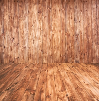 Абстрактный фон с деревянным полом и стеной