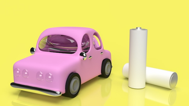Ev 자동차 기술 개념 3d 렌더링을위한 알카라인 배터리 및 자동차