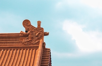 The architecture structure of a Chinese temple with blue sky.