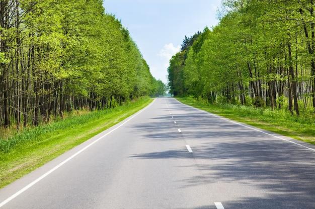 一年の夏へのアスファルト道路