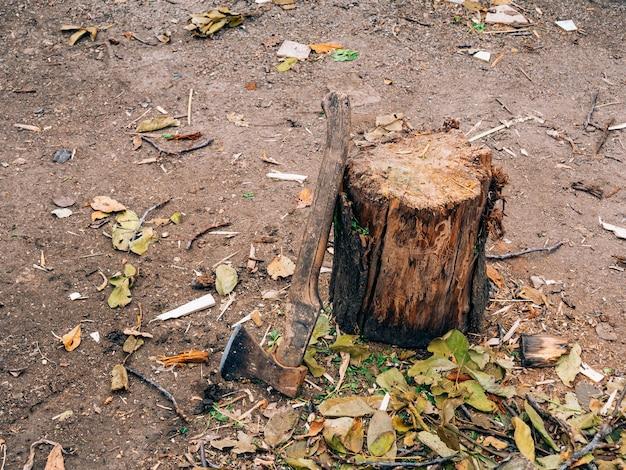 Топор в пне топор с деревянной ручкой