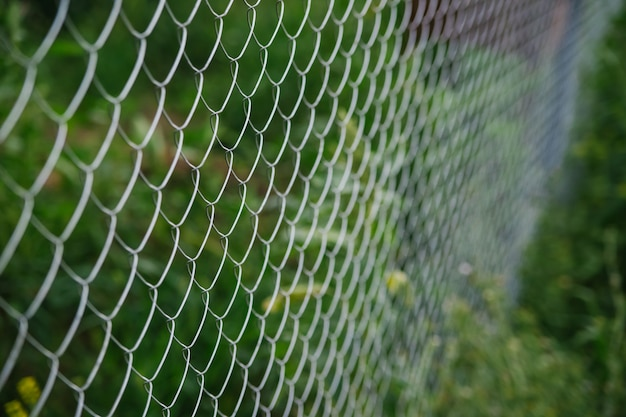 배경은 금속 메쉬로 되어 있습니다. 정원 플롯에 울타리입니다. 흐리게 배경입니다. 인터레이스 와이어의 질감입니다.