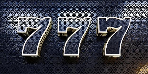 カジノの背景は、暗い光沢のある表面に3次元の数字7が付いたテクスチャ装飾です。