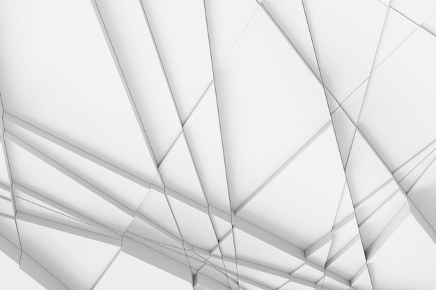 サーフェスの背景は、さまざまな高さのさまざまな幾何学的形状の直線によって計算され、お互いに影を落とします。 3dイラスト