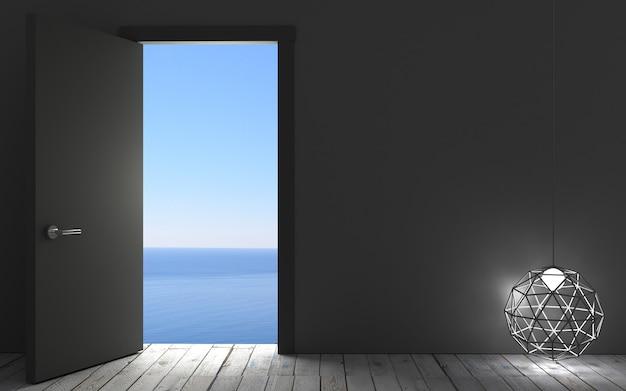 Фон с дверью летом и выходом к морю на стене в мансарде