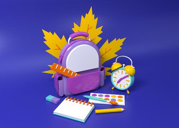 Рюкзак и будильник окружены школьными принадлежностями. 3d концептуальная иллюстрация