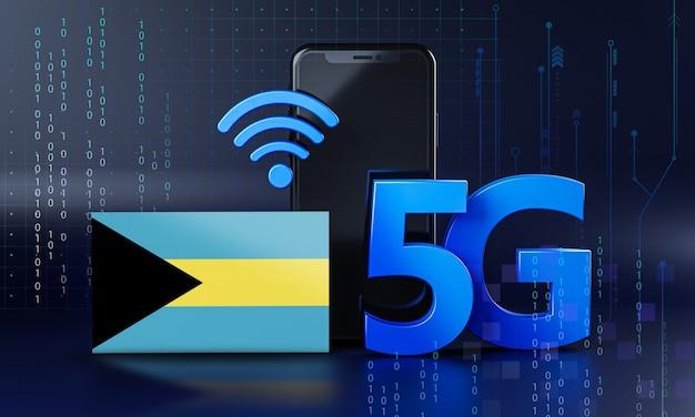 Багама готов к концепции подключения 5g. 3d визуализация смартфон технологии фона