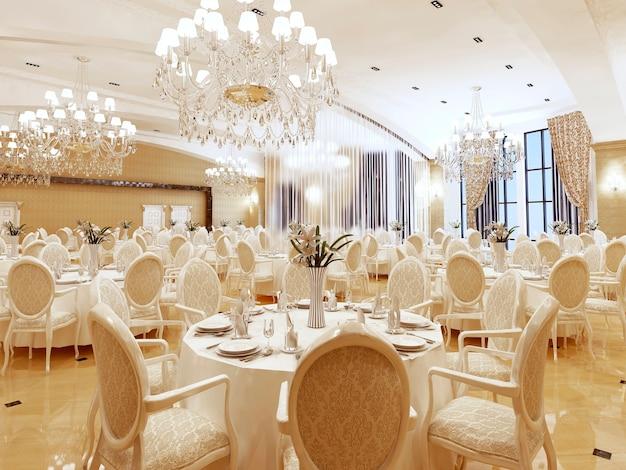 クラシックなスタイルのボールルームとレストラン。インテリアはイエローとベージュ。 3dレンダリング。