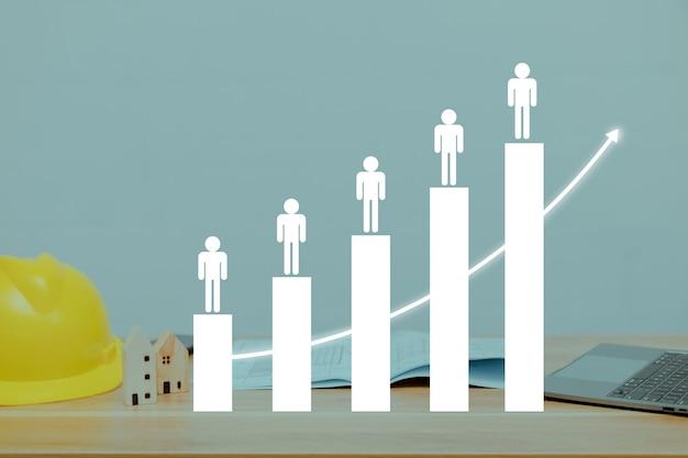 막대 차트는 비즈니스의 발전을 나타냅니다.