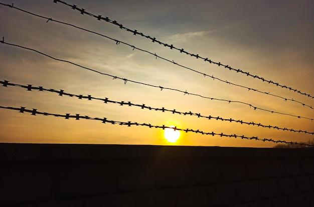 レンガの壁の上の有刺鉄線。刑務所の概念。
