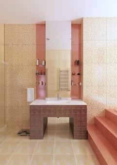 Раковина для ванной из мозаичной плитки бордового цвета с большим зеркалом на желтой стене. 3d рендеринг