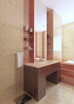 Раковина для ванной из мозаичной плитки бордового цвета с большим зеркалом на желтой стене. 3d рендеринг Premium Фотографии