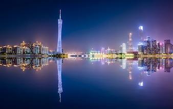 The beautiful city night scene and the skyline