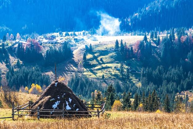 Carpathians의 아름답고 신선한 자연은 다채로운 숲, 푸른 초원 및 특별한 푸른 하늘의 높은 언덕에 묘사됩니다.