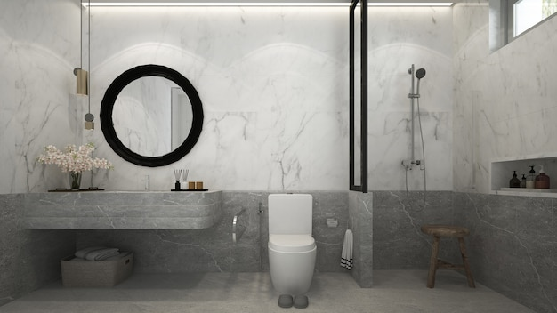Красивый макет современного дома, макет и дизайн интерьера ванной комнаты и мраморной стены