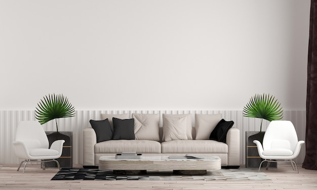 거실과 흰 벽 질감 배경의 아름다운 모의 방 인테리어 디자인